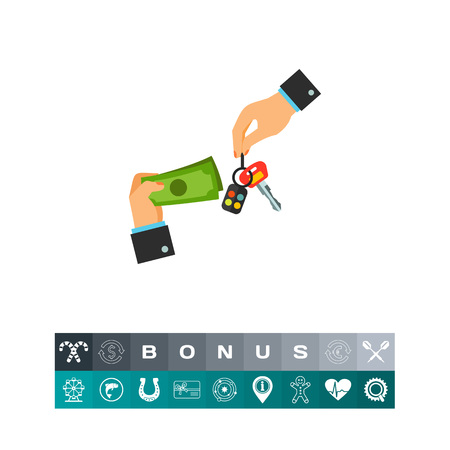Icon of hands with car keys and money. Renting, deal, purchase. Car dealership concept. Can be used for topics like car salon, retail, sale