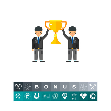 Vector icon of two businessmen holding cup. Teamwork, achievement, team competition. Competition concept. Can be used for topics like business, business team, success Illustration