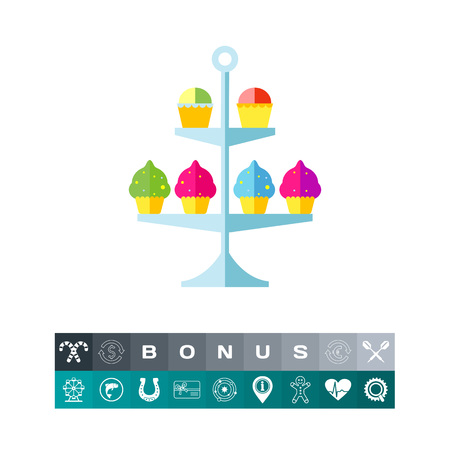 Vector icon of cake stand with cupcakes. Sweet food, sweetshop, confectionery. Dessert concept. Can be used for topics like food, gourmet, delicatessen Illustration