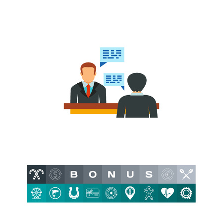 Vector icon of male candidate having job interview with employer. Interview, negotiation, debate. Head hunting concept. Can be used for topics like business, politics, employment