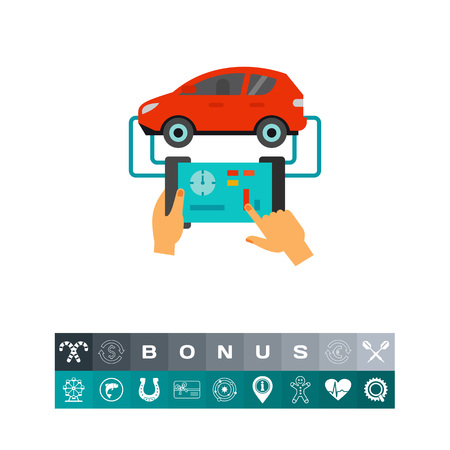 Icon of mechanic using tablet computer to diagnose car. Auto, service, technology. Car maintenance concept. Can be used for topics like repair, troubleshooting, auto mechanic