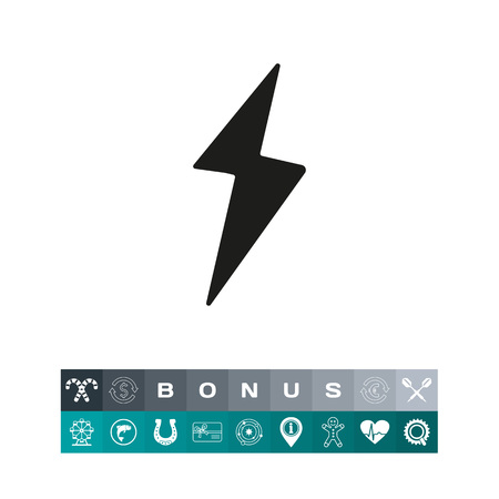 Simple icon of lighting. High voltage, energy, electricity. Loading concept. Can be used for application icons, buttons and web pictograms