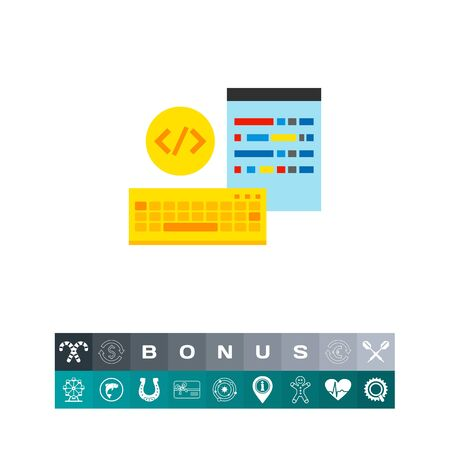 html: Keyboard and screen with coding symbols in circle. Digital, data, tags. Programming concept. Can be used for topics like programming, Internet, technology. Illustration