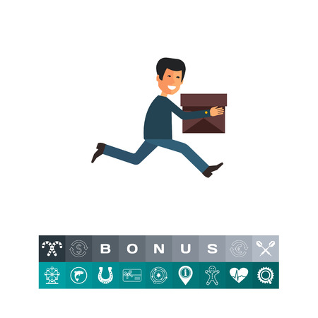 heavy: Multicolored vector icon of running delivery man with carton box
