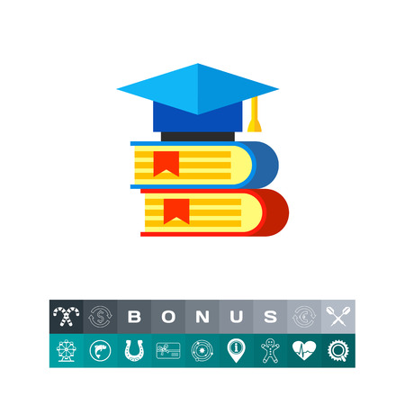 application university: Two books with graduate cap lying on them. Knowledge, university, library. Science books concept. Can be used for topics like science, study, education.