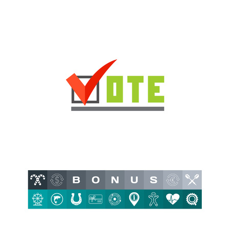 Vote inscription with tick sign. Choice, candidate, election. Vote concept. Can be used for topics like politics, democracy, sociology. Illustration