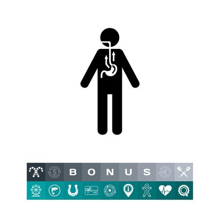 Man die lijden aan reflux. Indigestie, intoxicatie, pijn. Reflux concept. Kan gebruikt worden voor onderwerpen zoals geneeskunde, gezondheid, chemie.