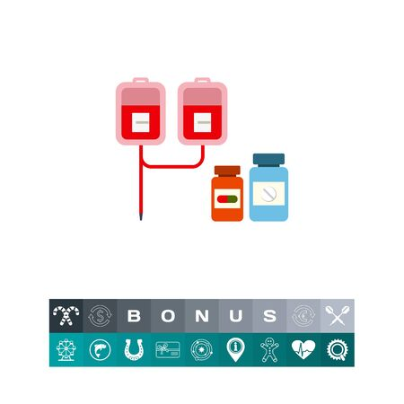 Multicolored vector icon of medical drip with iv bags and two pill bottles