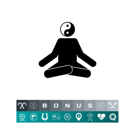 Man sitting in lotus position with yin yang sign instead of head. Concentration, relaxation, oriental. Meditation concept. Can be used for topics like meditation, spiritual practice, religion. Çizim
