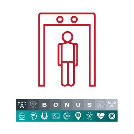 Icon of mans silhouette going through metal detector gate Ilustração