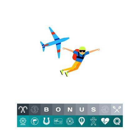 falling man: Parachutist Jump Icon Illustration