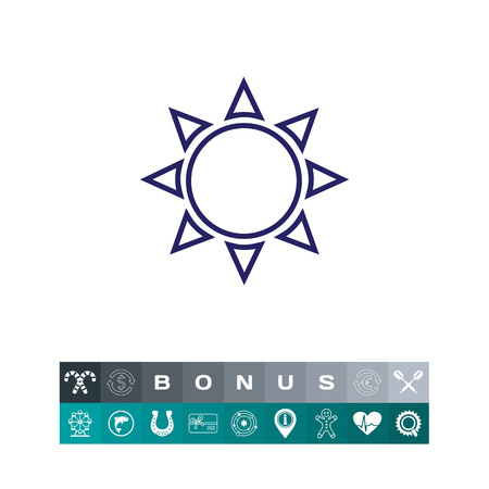 Icon of sun with beams vector illustration. Illustration