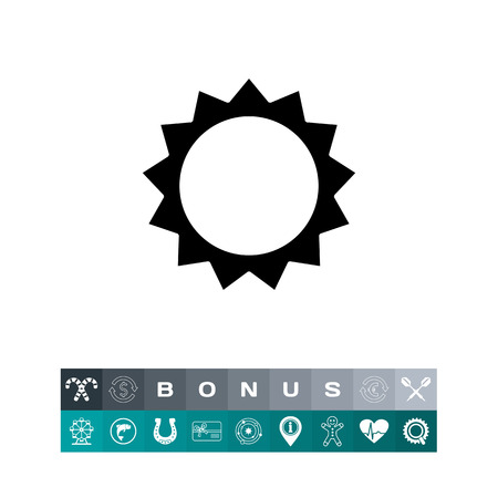 Icon of stylized sun with beams vector illustration.