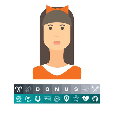 여성 문자 아이콘, 긴 머리, 프린지와 머리에 머리를 가진 10 대 소녀의 초상화 일러스트