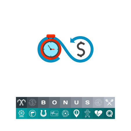 Timer connected with dollar sign. Deposit, earnings, investment. Time is money concept. Can be used for topics like business, management, finance, banking. Vektoros illusztráció