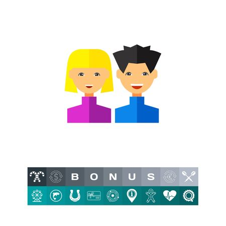 small business: Users flat icon Illustration