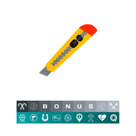 Utility knife icon illustration.