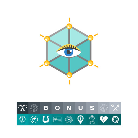 Icon of human eye in hexagon vector illustration. Illustration
