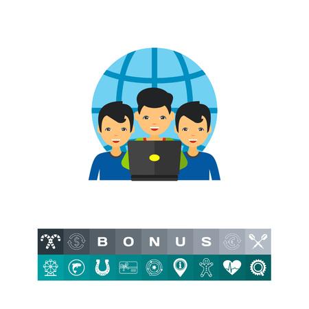 small business: Virtual Team of Three Men Icon