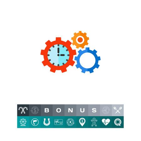 puntualidad: Icono concepto de gestión de tiempo con los engranajes Vectores