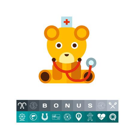 Toy bear doctor icon Illustration