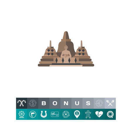 Borobudur vector icon Illustration