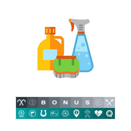 antiseptic: Detergents and brush icon Illustration