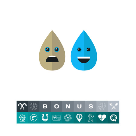 Dirty and Clean Water Drops Vector Icon Illustration