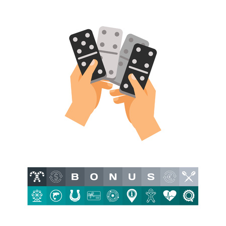 Dominoes in hands icon Illustration