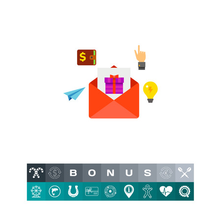 Envelope with present box, paper plane, light bulb, hand gesture, wallet. E-mail marketing, network, Internet. Marketing concept. Can be used for topics like e-mail marketing, social media, network Illustration