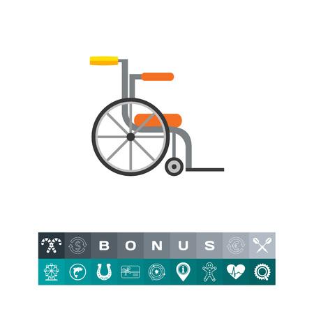 空の車椅子のアイコン。モビリティ、リハビリテーション、外傷。ハンディキャップのコンセプトです。病院、医学、医療のようなトピックに使用