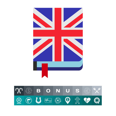 Icon of book with English flag cover. Dictionary, foreign language, grammar. Learning English concept. Can be used for topics like education, teaching or reading