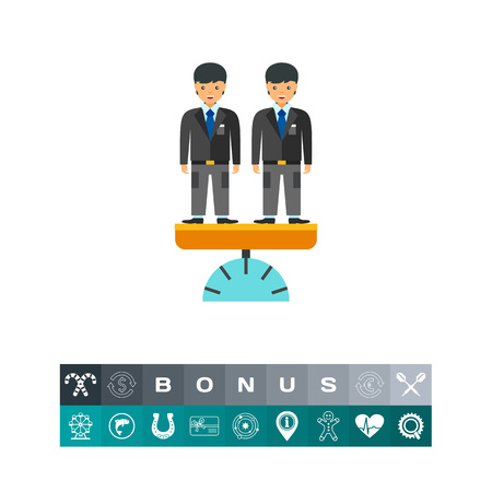 equal opportunity: A Vector icon of two businessmen standing on scales. Equal opportunity, business equality, healthy competition. Competition concept.