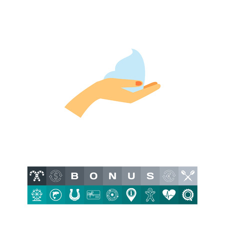 Female hand holding mousse vector icon Illustration