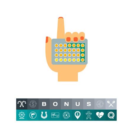 Female hand holding contraceptive pills. Birth control pills, hormonal pills, doze. Gynecology concept. Can be used for topics like birth control, female health, prescription medicine Illusztráció