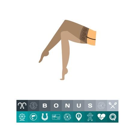 Female legs in nylon stockings icon Illustration