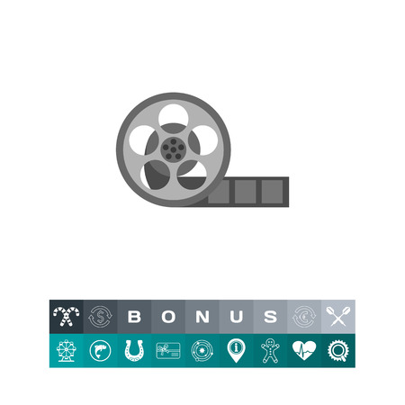 Icon of film reel. Displaying movie, recording, cinematography. Cinema concept. Can be used for topics like film industry, movie shoot or filmmaking
