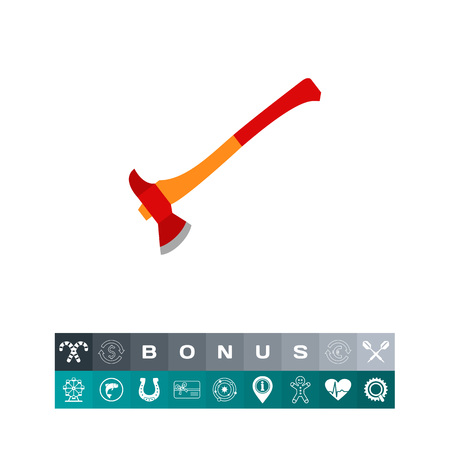 logging: Icon of fire axe. Tool, hatchet, danger. Fire fighting concept. Can be used for topics like logging, construction, woodworking