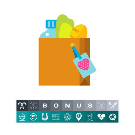 altruismo: Icono de la caja de donación de alimentos. Voluntario, caridad, ayuda. Concepto del altruismo. Puede usarse para temas como bienestar, supermercado, refugio Vectores