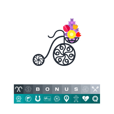 Forged street basket of flowers icon
