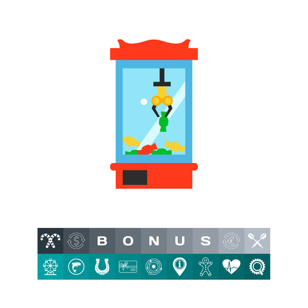 A Vector icon of game machine for picking candies. Entertainment, fair, luck. Gambling concept. Can be used for topics like game, leisure, market.