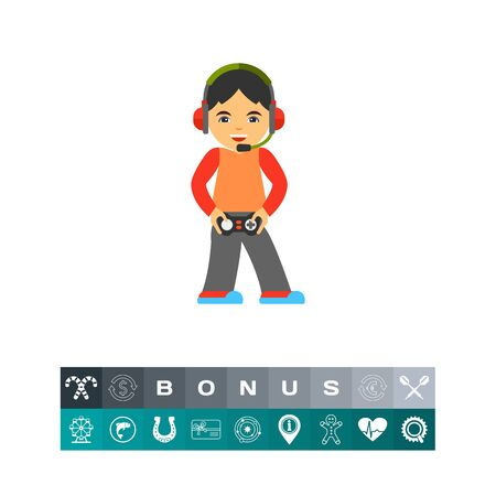 Icon of gamer holding joystick and wearing headset. Computer game, entertainment, hobby. Computer games concept. Can be used for topics like technology, leisure, addiction