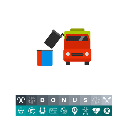 dumpster: Vector icon of garbage truck removing dumpster. Public utilities, trash pickup, waste management. Garbage collectors concept. Can be used for topics like recycling, transportation, urban services Illustration