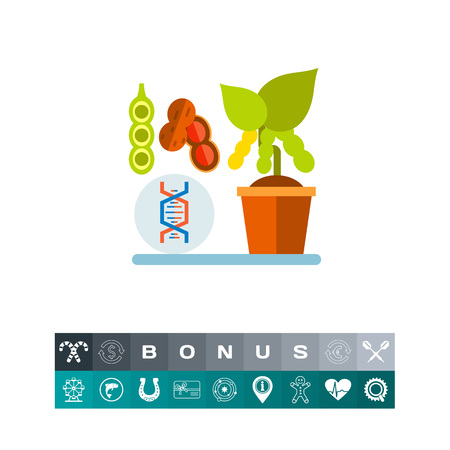 Icono de soja de cruce genético Foto de archivo - 84224770
