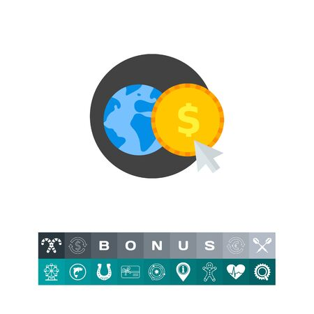 remittance: Globe and Coin Icon Illustration
