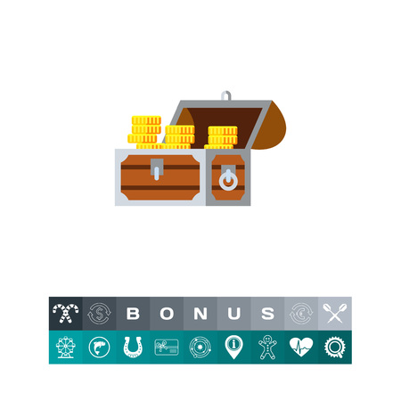 Gold chest icon Illustration
