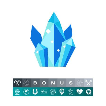 Group of shiny quartz crystals icon Illustration