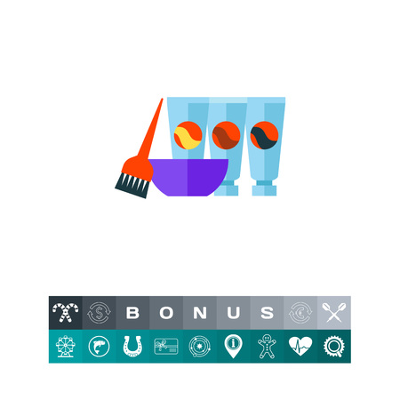 Hair dyes with brush and bowl vector icon Illustration
