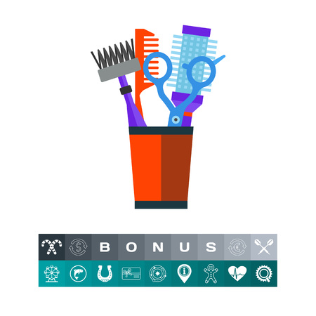 Hairdresser combs and shears vector icon
