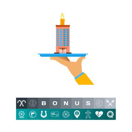 Hand Holding Company Building Cake Icon Illustration